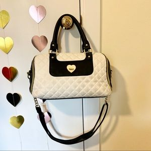 Betsey Johnson black and white leather satchel